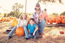 Daddy and his babies at pumpkin patch