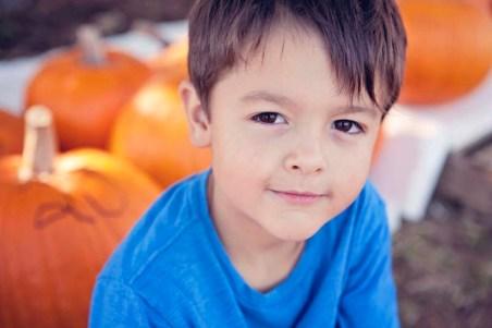 Little boy at pumpkin patch