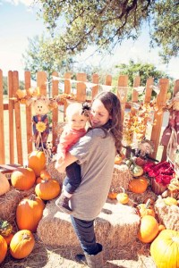 Mommy and baby at pumpkin patch